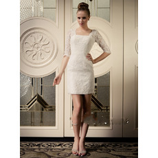 Discount Elegant Sheath Lace Short Beach Wedding Dresses with Sleeves