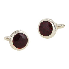 Stunning Round Burgundy Mens' Cufflinks for Party/ Wedding/ Business