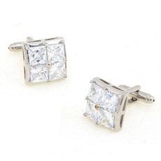 Elegant Square Swarovski Mens' Cufflinks for Party/ Wedding/ Business
