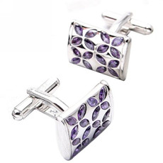 Elegant Rectangle Swarovski Mens' Cufflinks for Party/ Wedding/ Business