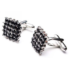 Square Swarovski with Diamond Cufflinks for Party/ Wedding/ Business