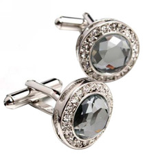 Round Gray Swarovski Mens' Cufflinks for Party/ Wedding/ Business