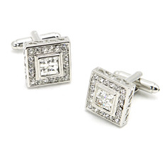 Square White Swarovski Mens' Cufflinks for Party/ Wedding/ Business