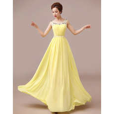 Sweet A-line Chiffon Floor Length Round Neck Evening Dresses