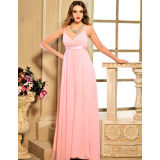Custom Empire Spaghetti Straps Empire Chiffon Floor Length Evening Dresses