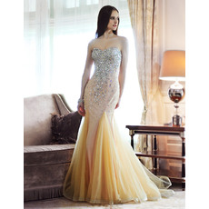 Discount Sexy Mermaid/ Trumpet Sweetheart Beaded Sweep Train/ Floor Length Evening Dresses