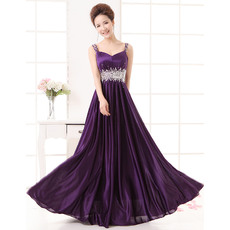 Newest Custom A-Line Satin Straps Sleeveless Floor Length Empire Evening Dresses