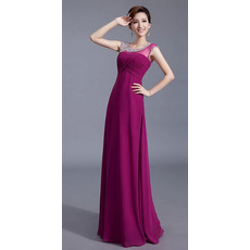 Fabulous A-Line Round/ Scoop Chiffon Floor Length Evening Dresses for Prom