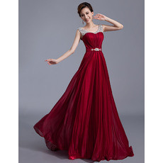 Discount Custom A-Line Round/ Scoop Chiffon Sweep Train Floor Length Round Neck Evening Dresses