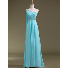 Gorgegous A-line One Shoulder Chiffon Floor Length Evening Dresses