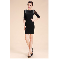 Inspired Sexy Sheath Short Black Homecoming Dresses with Sleeves