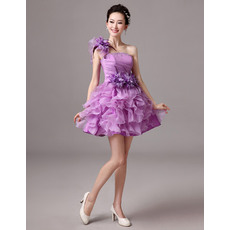 Perfect Cute A-Line One Shoulder Short Homecoming/ Party Dresses