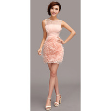 Romantic Column/ Sheath Short Chiffon Ruffle Homecoming/ Party Dresses