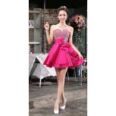Informal A-Line Sweetheart Short Satin Beaded Homecoming/ Party Dresses