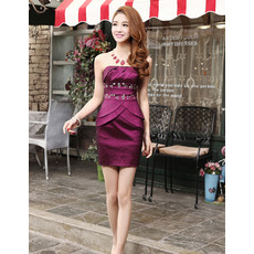 Unique Sexy Column/ Sheath Strapless Short Satin Homecoming Dresses