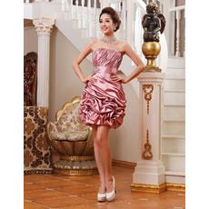 Designer Elegant Column Strapless Short Taffeta Homecoming Dresses