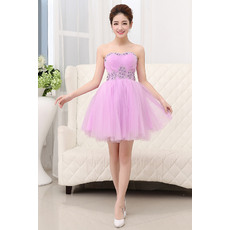 Sweet A-Line Sweetheart Mini Tulle Homecoming  Party Dresses wth Beading Rhinestone Detail