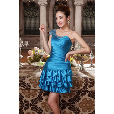 Stylish Sexy A-Line One Shoulder Short Satin Homecoming/ Party Dresses