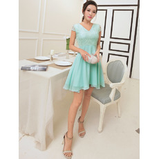 Inexpensive A-line V-Neck Short Chiffon Homecoming/ Party Dresses