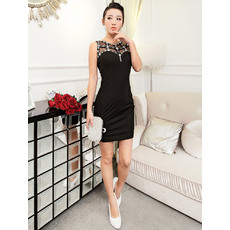 Cheap Sexy Sheath Short Black Satin Homecoming/ Party Dresses