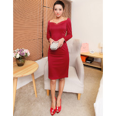 Elegant Sheath/ Column Short Satin Homecoming Dresses with Long Sleeves