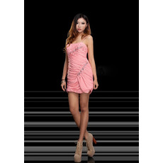 Fashionable Sheath/ Column Spaghetti Straps Short/ Mini Chiffon Homecoming/ Party Dresses