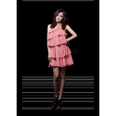 Inexpensive Column/ Sheath One Shoulder Tiered Chiffon Short Homecoming Dresses