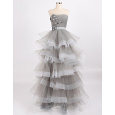 Inexpensive Stylish A-Line Tiered Skirt Organza Strapless Floor Length Satin Prom/ Party Dresses