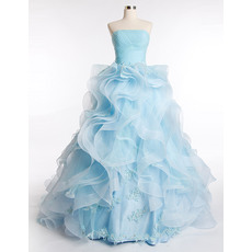 Gorgeous Ball Gown Strapless Full Length Ruffle Skirt Organza Prom Party Dresses with Ruched Bodice and Beaded Applique