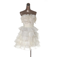 Affordable Elegant Strapless Short Tiered Homecoming/ Party Dresses