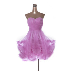 Inexpensive Cute A-Line Sweetheart Short Tulle Homecoming Dresses/ Discount Pleated Prom Party Dresses with Ruffled