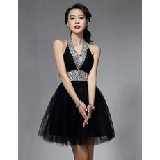 Affordable Sexy A-Line Halter Short Black Homecoming/ Dramatic Bling Bling Tulle Prom Party Dresses