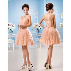 Designer Stylish A-Line Sweetheart Short Tiered Chiffon Homecoming Dresses