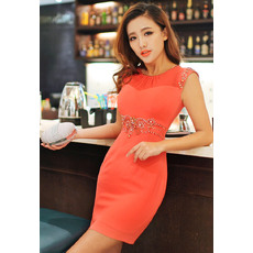 Engagements Sexy Column/ Sheath Round/ Scoop Short/ Mini Chiffon Empire Homecoming Dresses