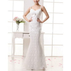 Sexy Mermaid Spaghetti Straps Full Length Lace Wedding Dresses