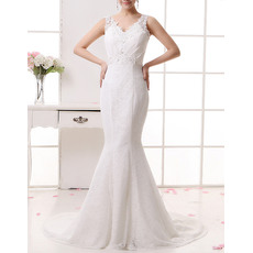 Discount Sexy Lace Mermaid V-Neck Sweep Train Wedding Dresses
