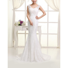 Inexpensive Sexy Lace Mermaid Round/ Scoop Sweep Train Wedding Dresses