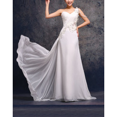 Affordable Elegant Custom One Shoulder Sweep Train Wedding Dresses