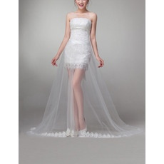 Discount Sheath Strapless Mini Lace Wedding Dresses with Detachable Tulle Skirts