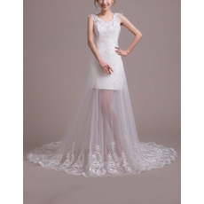 Fashionable Lace Appliques Sheath Wedding Dresses with Illusion Tulle Trains