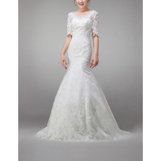 Affordable Classy Half Sleeves Mermaid Lace Appliques Wedding Dresses with Crystal Detailing