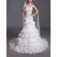 Gorgeous Tiered Organza Wedding Dresses with Beaded Bodice and Hand-made Flowers