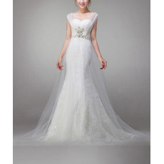 Pretty Mermaid Lace Wedding Dresses with All-over Tulle and Rhinestone Beaded Waist