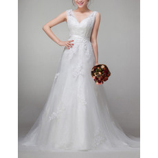 Affordable Vintage A-Line V-Neck Sweep Train Organza Wedding Dresses