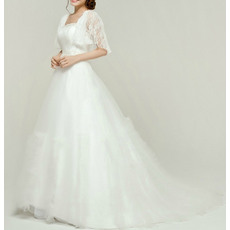 Affordable Ball Gown Tulle Wedding Dresses with Lace Bodice and Flutter Sleeves