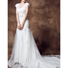 Graceful Crystal Beading Chapel Train Tulle Wedding Dresses with Slight Cap Sleeves