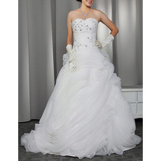 Discount Elegant Sweetheart Sweep Train Organza Ruffle Wedding Dresses