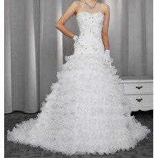 Gorgeous Crystal Beading Sweetheart Organza Wedding Dresses with Breathtaking Layered Skirt