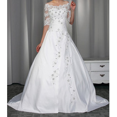 Delicate Beading Appliques Off-the-shoulder Satin Wedding Dresses with Half Tulle Sleeves