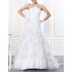Romantic Beaded One Shoulder Sweep Train Organza Wedding Dresses with Tiered Skirt